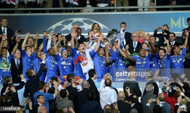 The Chelsea players lift the trophy following their victory at the end of the UEFA Champions League Final between FC Bayern Muenchen and Chelsea at...