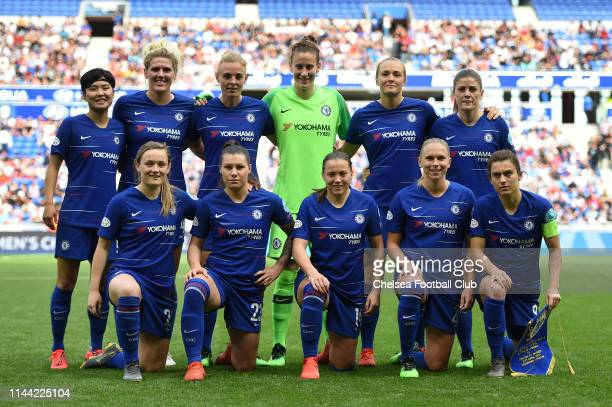 The Chelsea players pose for a team photo prior to the Women UEFA Champions League semi final match between Olympique Lyonnais and Chelsea on April...