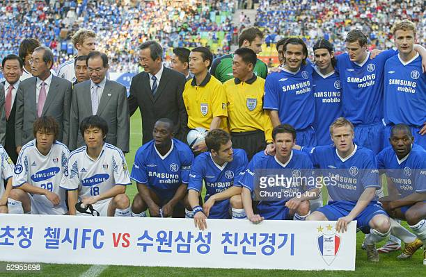 The Chelsea squad line up ahead of a friendly match between Chelsea and Suwon Samsung Bluewings on May 20, 2005 in Suwon, South Korea. Chelsea won...