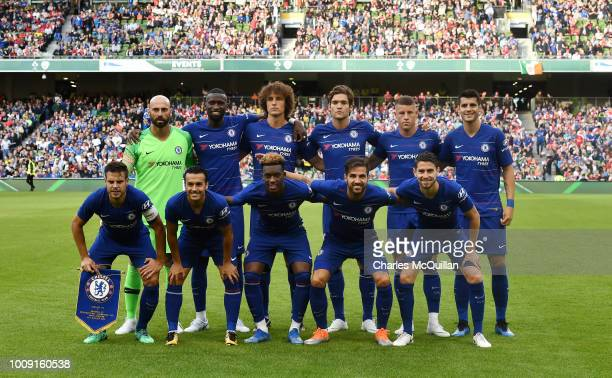 The Chelsea starting XI pose for a team photograph before the Preseason friendly International Champions Cup game between Arsenal and Chelsea at...