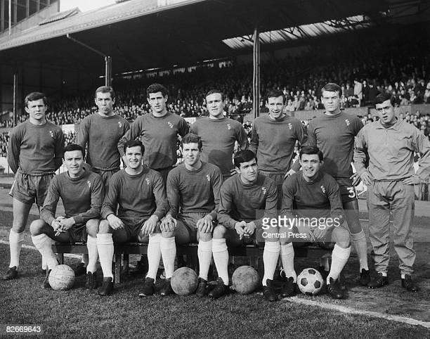 The Chelsea team at Stamford Bridge London February 1966 Back row left to right John Hollins Marvin Hinton Peter Bonetti captain Ron Harris John...