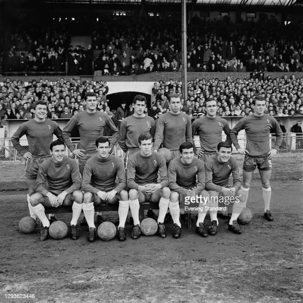 The Chelsea team before their match against Tottenham Hotspur at Stamford Bridge in London, 8th January 1966. Chelsea won 2-1. Back row : John...