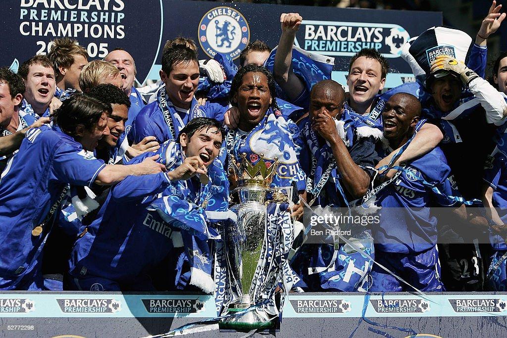 The Chelsea team celebrate after receiving the Barclays Premiership Trophy at Stamford Bridge on May 7, 2005 in London, England.