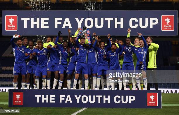 The Chelsea team celebrate after victory in the FA Youth Cup Final, second leg between Chelsea and Mancherster City at Stamford Bridge on April 26,...