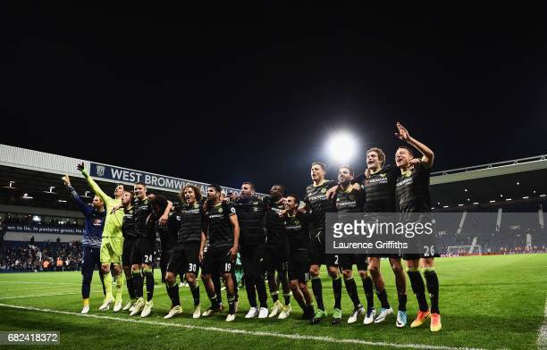 The Chelsea team celebrate winning the league after the Premier League match between West Bromwich Albion and Chelsea at The Hawthorns on May 12 2017...