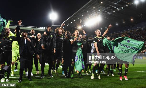 The Chelsea team celebrate winning the leauge after the Premier League match between West Bromwich Albion and Chelsea at The Hawthorns on May 12 2017...