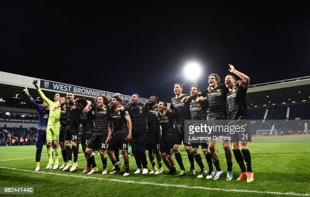 The Chelsea Team celebrate winning the title after the Premier League match between West Bromwich Albion and Chelsea at The Hawthorns on May 12 2017...