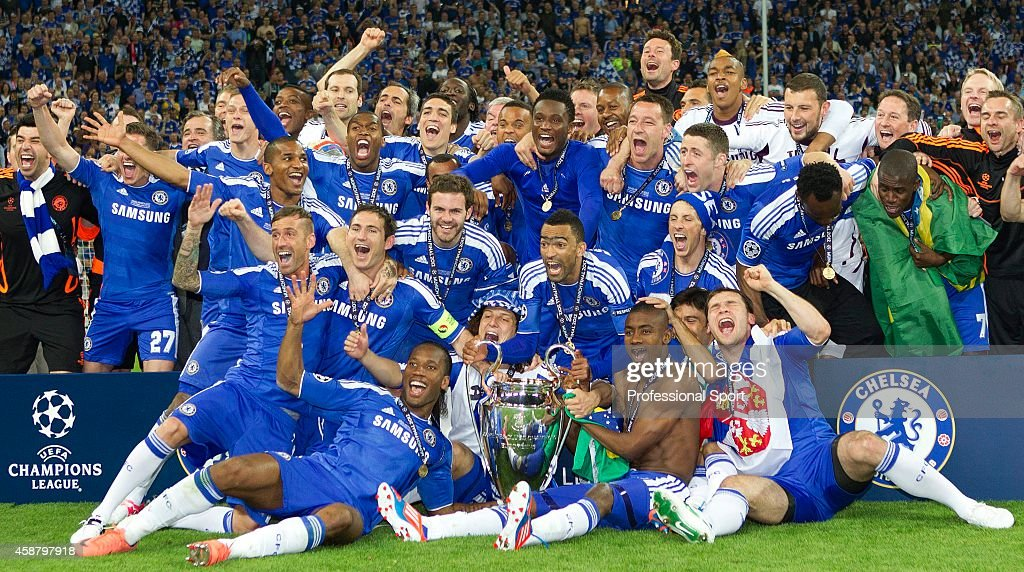 The Chelsea Team Celebrate With Trophy After UEFA Champions League Final Between FC Bayern