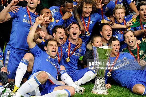 The Chelsea team celebrate with the trophy after the UEFA Europa League Final between SL Benfica and Chelsea FC at the Amsterdam Arena on May 15th...