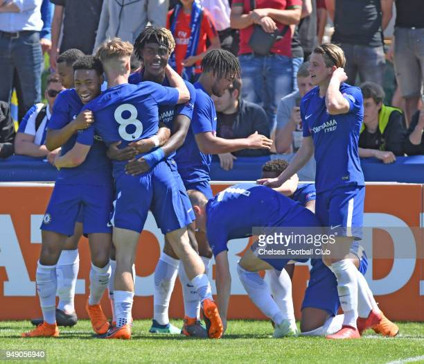 The Chelsea team celebrates Daishawn Redan's goal at the Chelsea FC v FC Porto UEFA Youth League Semi Final at Colovray Sports Centre on April 20...
