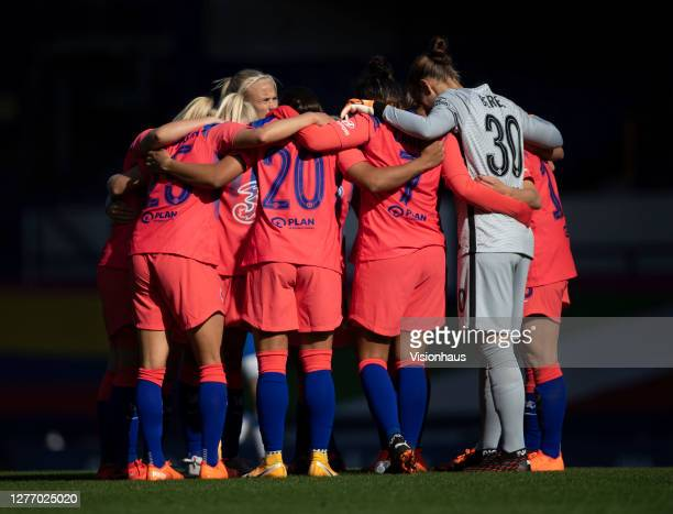 The Chelsea team form a huddle before ther start of the second half during the Womens FA Cup Quarter Final match between Everton FC and Chelsea FC at...