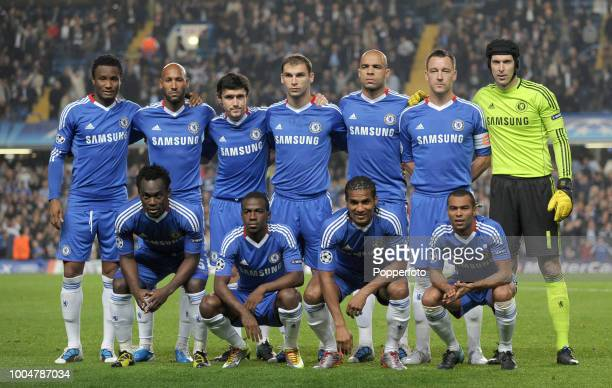 The Chelsea team group prior to the UEFA Champions League Group F match between Chelsea and Olympique Marseille at Stamford Bridge in London on...