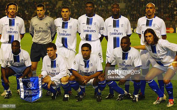 The Chelsea team group prior to the UEFA Champions League Group G match between AC Sparta Prague and Chelsea on September 16 2003 at the Letna...
