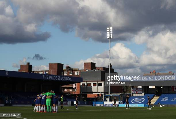 The Chelsea team huddle at half time of the Barclays FA Women's Super League match between Chelsea Women and Manchester City Women at Kingsmeadow on...