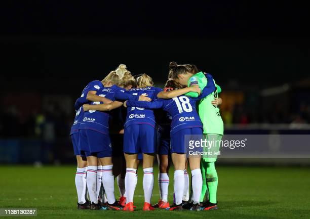 The Chelsea team huddle during the UEFA Women's Champions League Quarter Final First Leg match between Chelsea Women and Paris SaintGermain at...