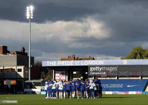 The Chelsea team huddle following the Barclays FA Women's Super League match between Chelsea Women and Manchester City Women at Kingsmeadow on...