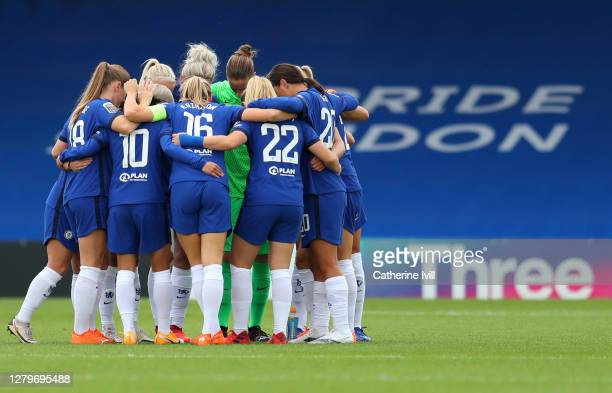 The Chelsea team huddle prior to the Barclays FA Women's Super League match between Chelsea Women and Manchester City Women at Kingsmeadow on October...