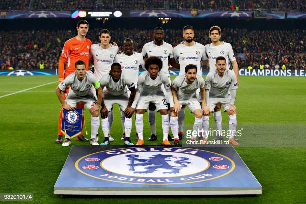 The Chelsea team line up before the UEFA Champions League Round of 16 Second Leg match between FC Barcelona and Chelsea FC at Camp Nou on March 14...