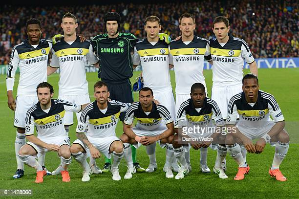 The Chelsea team line up during the UEFA Champions League Semi Final second leg match between FC Barcelona and Chelsea FC at Camp Nou on April 24...