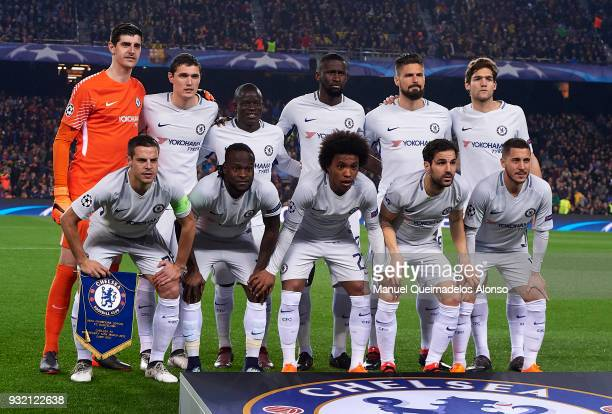 The Chelsea team line up for a photo prior to kick off during the UEFA Champions League Round of 16 Second Leg match between FC Barcelona and Chelsea...