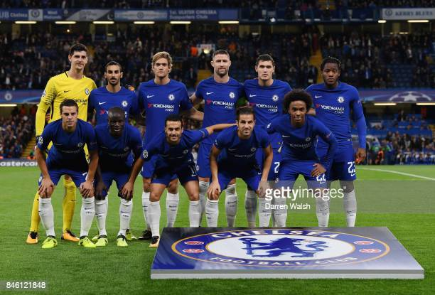 The Chelsea team line up prior to the UEFA Champions League Group C match between Chelsea FC and Qarabag FK at Stamford Bridge on September 12 2017...