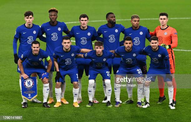 The Chelsea team line up prior to the UEFA Champions League Group E stage match between Chelsea FC and FC Krasnodar at Stamford Bridge on December...