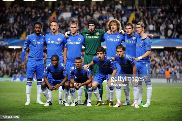 The Chelsea team pose for a group picture prior to the UEFA Champions League match between Chelsea and Juventus at Stamford Bridge on September 19...