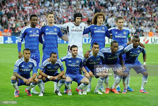 The Chelsea team pose for a team group before the start of the UEFA Champions League Final between FC Bayern Munich and Chelsea at the Fussball Arena...