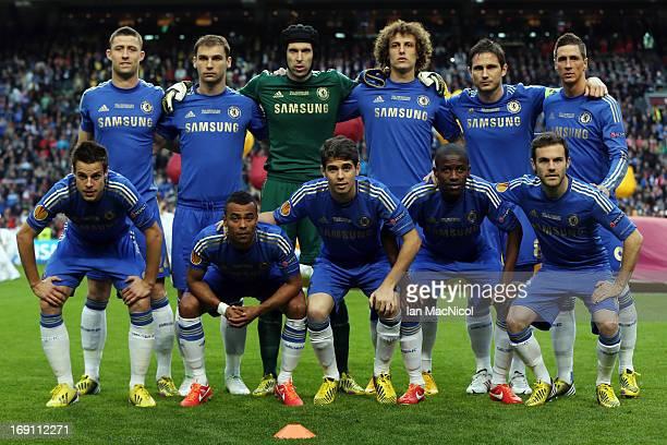 The Chelsea team pose for photgraphs Gary Cahill Branislav Ivanovic Petr Cech David Luis Frank Lampard Fernando Torres Cesar Azpilicueta Oscar...
