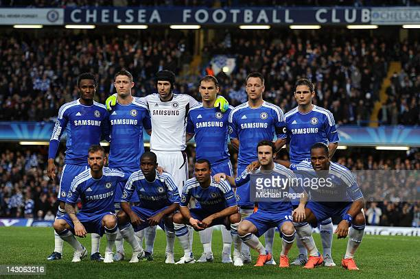 The Chelsea team pose for the cameras prior to kickoff during the UEFA Champions League Semi Final first leg match between Chelsea and Barcelona at...