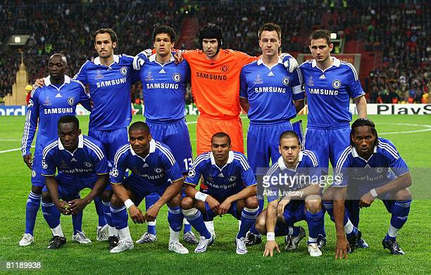 The Chelsea team pose prior to kickoff during the UEFA Champions League Final match between Manchester United and Chelsea at the Luzhniki Stadium on...
