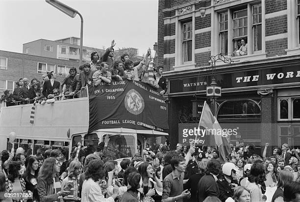 The Chelsea team return to the World's End in Chelsea with the UEFA Cup Winners' Cup London UK 22nd May 1971 They won the trophy in a match against...