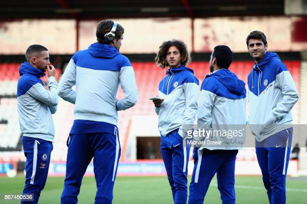 The Chelsea team take a look around the pitch prior to the Premier League match between AFC Bournemouth and Chelsea at Vitality Stadium on October 28...