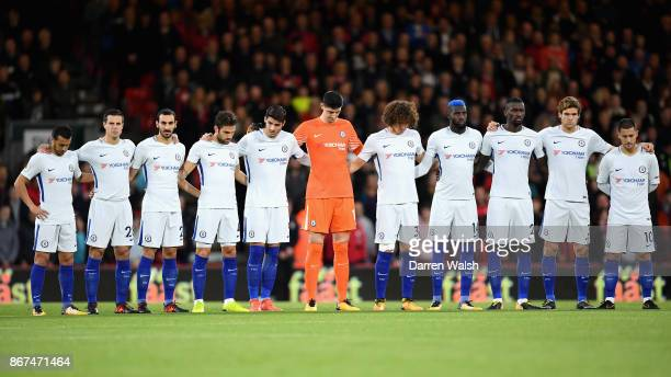 The Chelsea team take part in minute of silence for remembrance day prior to the Premier League match between AFC Bournemouth and Chelsea at Vitality...