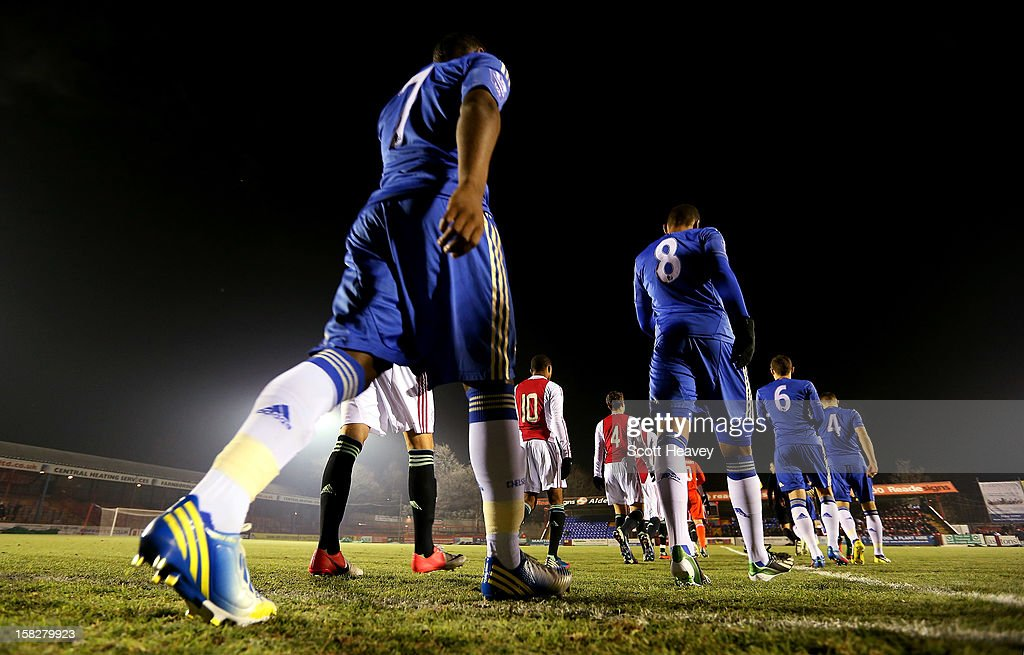 The Chelsea team walk on to the pitch during the NextGen Series match between Chelsea U19 and Ajax U19 on December 12, 2012 in Aldershot, England.