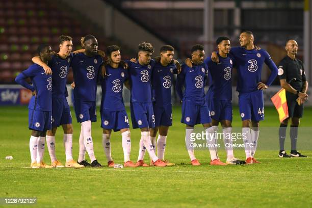 The Chelsea team watches the penalty shootout during the Chelsea Development Squad v Walsall EFL Trophy match at Bank's Stadium on September 29 2020...