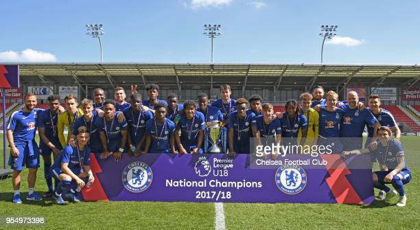 The Chelsea U18 team celebrate winning their fourth cup of the season at the Manchester United v Chelsea U18 Premier League National Final at Leigh...