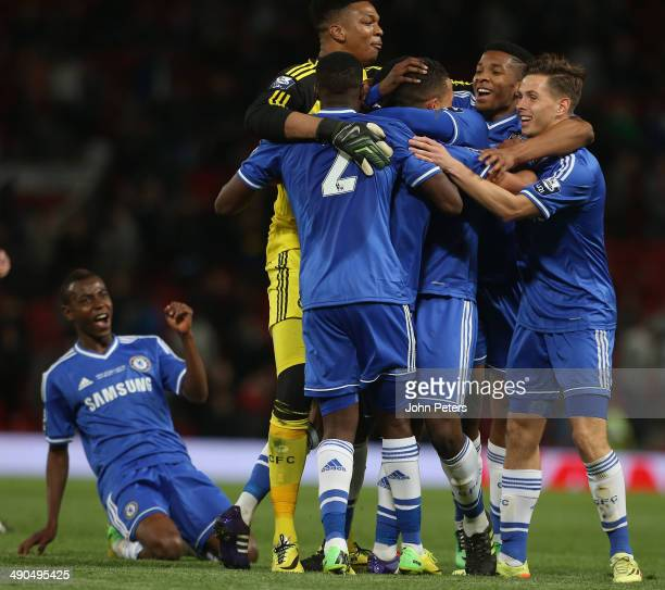 The Chelsea U21s team celebrate after the Barclays U21 Premier League final match between Manchester United and Chelsea at Old Trafford on May 14...