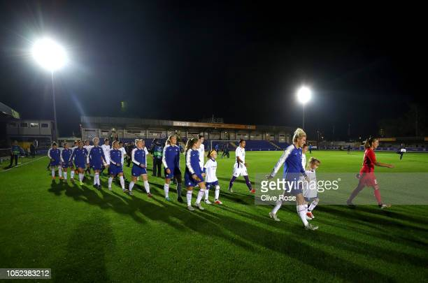 The Chelsea Women team walk out prior to the UEFA Women's Champions League Round of 16 1st Leg match between Chelsea Women and Fiorentina Women at...