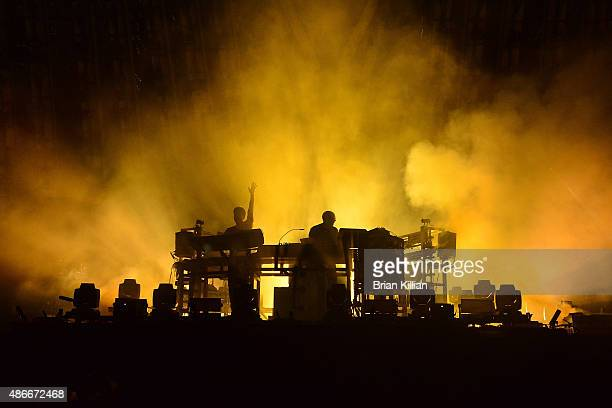 The Chemical Brothers Ed Simons and Tom Rowlands perform at Randall's Island on September 4 2015 in New York City