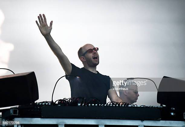 The Chemical Brothers Tom Rowlands and Ed Simons perform on the Main Stage on day one of the Parklife 2016 Festival on June 11 2016 in Manchester...