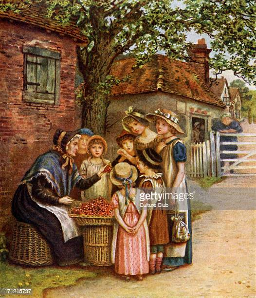 'The cherry woman' by Kate Greenaway Selling cherries to young children