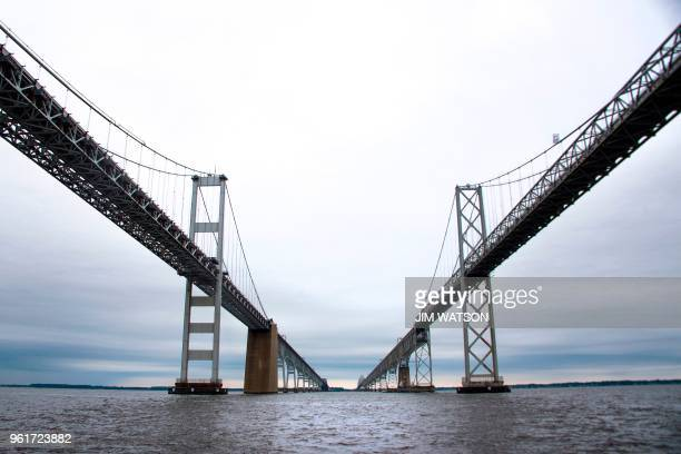 The Chesapeake Bay Bridge which connect the western shore to the eastern shore of Maryland is seen from a boat outside Annapolis Maryland on May 22...
