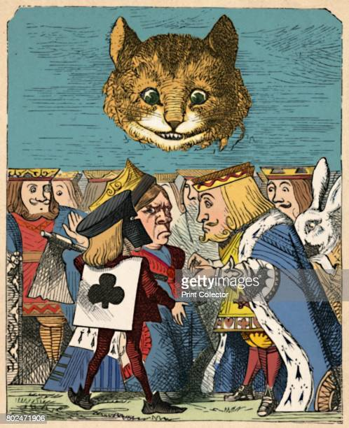 The Cheshire Cat looking down at the Red King and Queen having an argument' 1889 Lewis Carroll's 'Alice in Wonderland' as illustrated by John Tenniel...