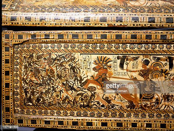 The chest of Tutankhamun Depictions of war scenes The king in his chariot defeats the nubian army Egypt Ancient Egyptian 18th Dynasty c 1357 1349 BC