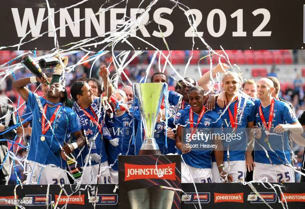 The Chesterfield team celebrate during the Johnstone's Paint trophy Final between Swindon Town and Chesterfield at Wembley Stadium on March 25 2012...