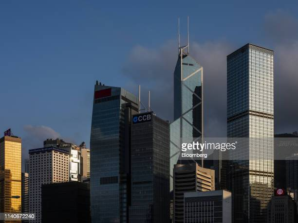 The Cheung Kong Center building from right Bank of China Tower CCB Tower AIA Central building Bank of America Tower Far East Finance Centre stand...