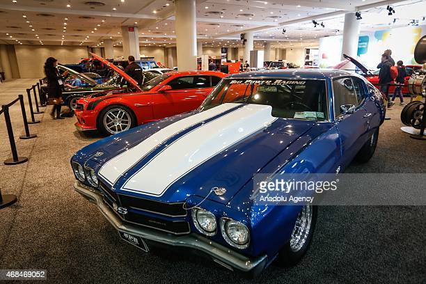 The Chevrolet Camaro SS is displayed at the 2015 New York International Auto Show in New York USA on April 02 2015