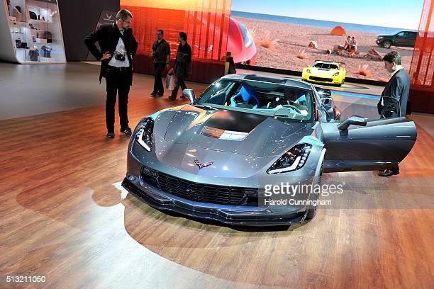 The Chevrolet Corvette Grand Sport is displayed during the Geneva Motor Show 2016 on March 1 2016 in Geneva Switzerland