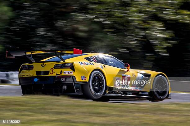 The Chevrolet Corvette of Antonio Garcia of Spain Jan Magnussen of Denmark and Mike Rockenfeller of Germany races on the track during practice for...